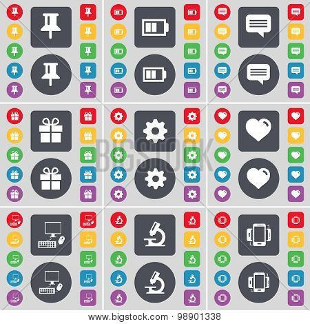 Pin, Battery, Chat Bubble, Gift, Gear, Heart, Pc, Microscope, Sm Icon Symbol. A Large Set Of Flat, C