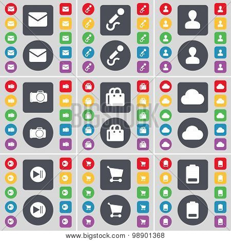 Message, Microphone, Avatar, Camera, Shopping Bag, Cloud, Media  Icon Symbol. A Large Set Of Flat, C