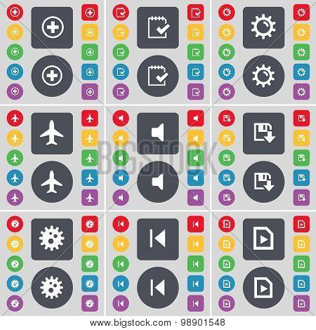 Plus, Survey, Gear, Airplane, Sound, Floppy, Gear, Media Skip, M Icon Symbol. A Large Set Of Flat, C