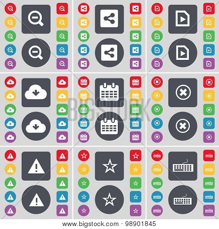 Magnifying Glass, Share, Media File, Cloud, Calendar, Stop, Warn Icon Symbol. A Large Set Of Flat, C