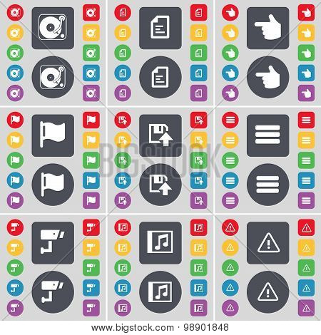 Gramophone, Text File, Hand, Flag Tower, Floppy, Apps, Cctv, Mus Icon Symbol. A Large Set Of Flat, C