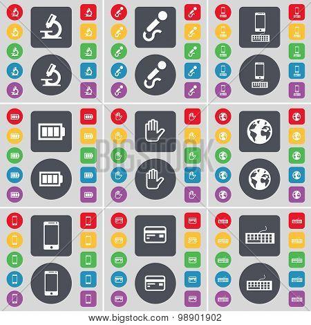 Microscope, Microphone, Smartphone, Battery, Hand, Earth, Smartphone, Credit Card, Keyboard Icon Sym