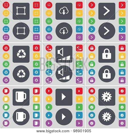 Frame, Cloud, Arrow Right, Recycling, Volume, Lock, Cup, Media Play, Gear Icon Symbol. A Large Set O
