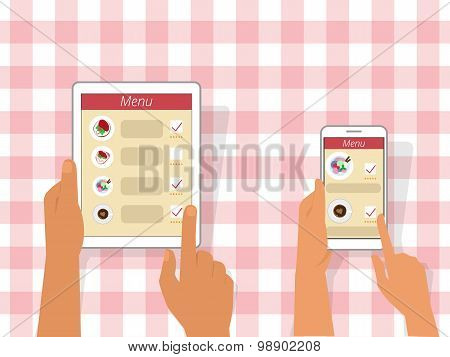 Ordering food using gadgets