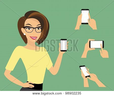 Woman showing something displayed on smartphone