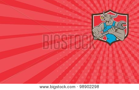 Business Card Mechanic Minotaur Bull Spanner Shield Cartoon