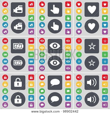 Film Camera, Hand, Heart, Charging, Vision, Star, Lock, Chat Bubble, Sound Icon Symbol. A Large Set