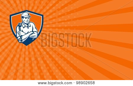 Business Card Mechanic Holding Spanner Arms Crossed Shield Retro