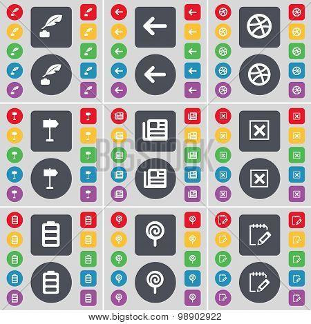 Ink Pot, Arrow Left, Ball, Sighpost, Newspaper, Stop, Battery, Lollipop, Notebook Icon Symbol. A Lar