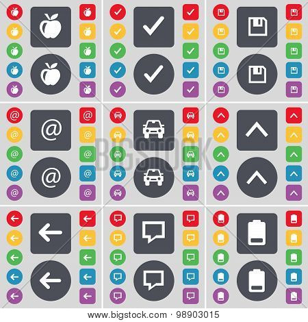 Apple, Tick, Floppy, Mail, Car, Arrow Up, Arrow Left, Chat Bubble, Battery Icon Symbol. A Large Set