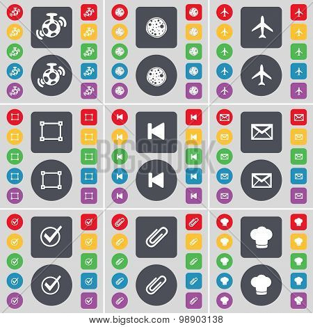 Speaker, Pizza, Airplane, Frame, Media Skip, Message, Tick, Clip, Cooking Hat Icon Symbol. A Large S