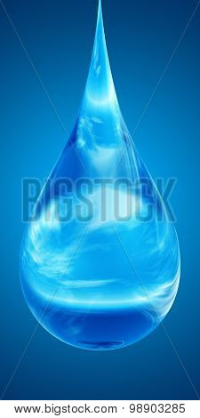 Concept or conceptual clean cold rain water liquid drop falling, blue gradient  background