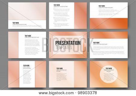 Set of 9 templates for presentation slides. Orange background vector illustration.