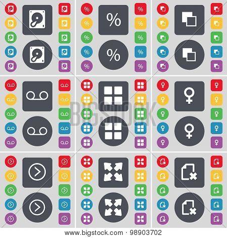 Hard Drive, Percent, Copy, Cassette, Apps, Venus Symbol, Arrow Right, Full Screen, File Icon Symbol.