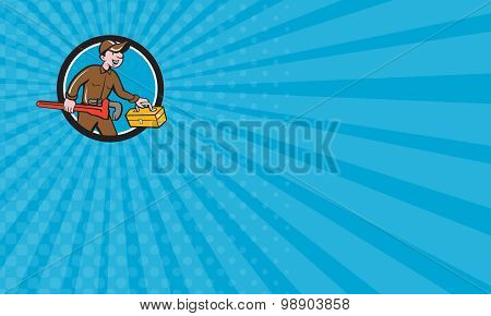 Business Card Plumber Carrying Monkey Wrench Toolbox Circle