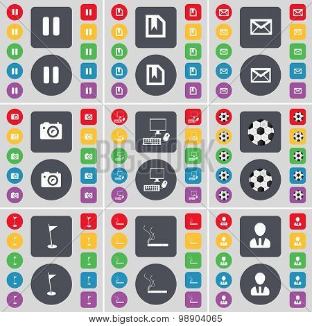 Pause, File, Message, Camera, Pc, Ball, Golf Hole, Cigarette, Avatar Icon Symbol. A Large Set Of Fla