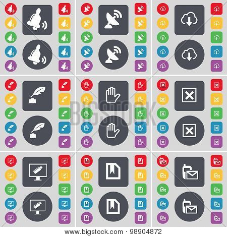Bell, Satellite Dish, Cloud, Ink Pot, Hand, Stop, Monitor, File, Message Icon Symbol. A Large Set Of