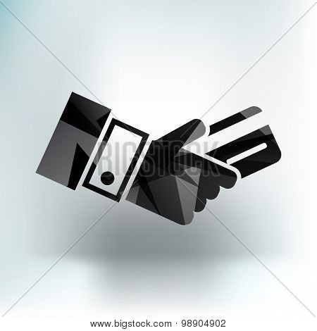 Bank credit card with hand, vector illustration