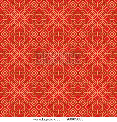 Golden seamless Chinese window tracery lattice polygon round line pattern.