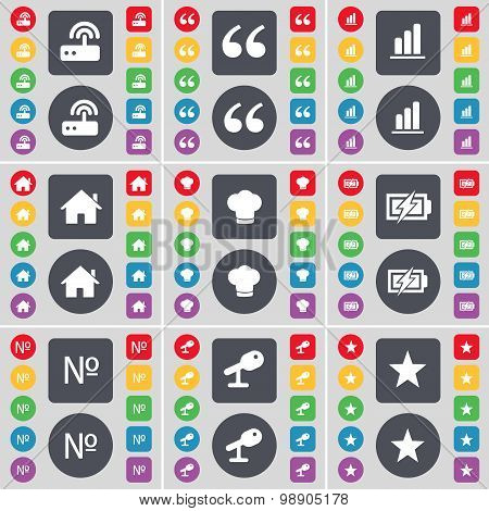 Router, Quotation Mark, Diagram, House, Cooking Hat, Charging, Number, Microphone, Star Icon Symbol.