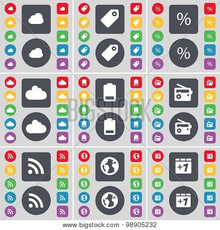 Cloud, Tag, Percent, Battery, Radio, Rss, Earth, Plus One Icon Symbol. A Large Set Of Flat, Colored