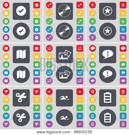 Tick, Disk, Star, Map, Picture, Chat Bubble, Scissors, Swimmer, Battery Icon Symbol. A Large Set Of