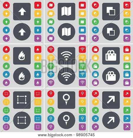 Arrow Up, Map, Copy, Fire, Wi-fi, Shopping Bag, Frame, Checkpoint, Full Screen Icon Symbol. A Large