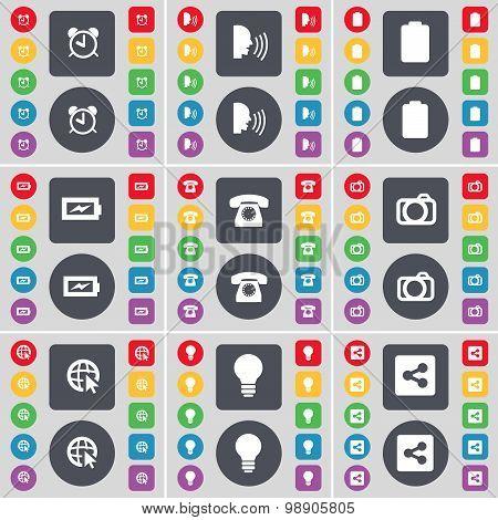 Alarm Clock, Talk, Battery, Charging, Retro Phone, Camera, Web Cursor, Light Bulb, Share Icon Symbol