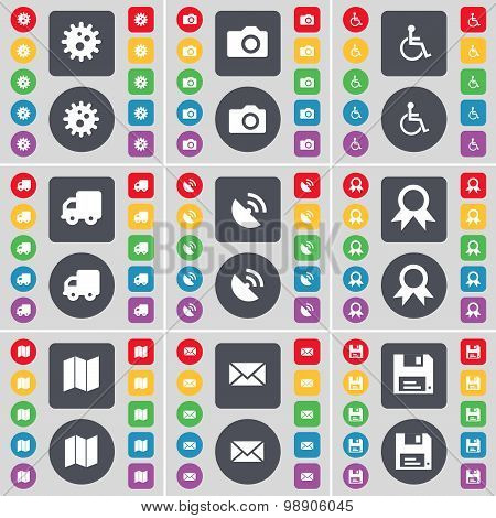 Gear, Camera, Disabled Person, Truck, Satellite Dish, Medal, Map, Message, Floppy Icon Symbol. A Lar