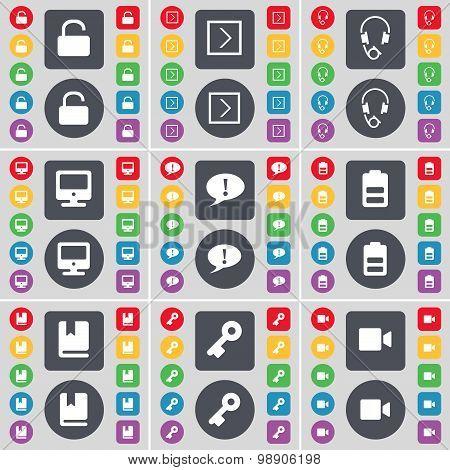 Lock, Arrow Right, Headphones, Monitor, Chat Bubble, Battery, Dictionary, Key, Film Camera Icon Symb