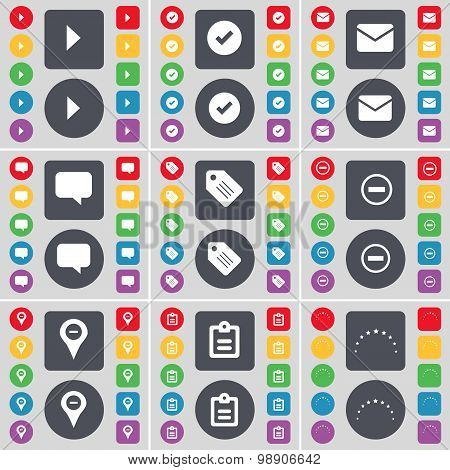 Media Play, Tick, Message, Chat Bubble, Tag, Minus, Checkpoint, Survey, Stars Icon Symbol. A Large S