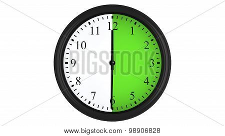 Wall clock with a green 30 minutes time interval
