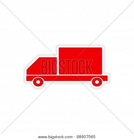 icon sticker realistic design on paper car cargo logistics