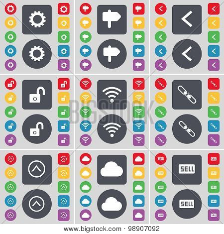 Gear, Signpost, Arrow Left, Lock, Wi-fi, Link, Arrow Up, Cloud, Sell Icon Symbol. A Large Set Of Fla
