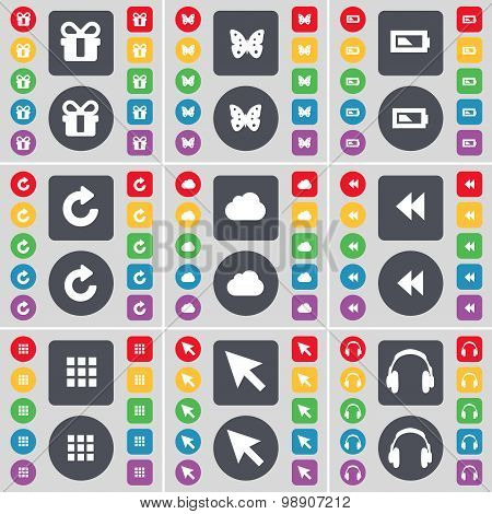 Gift, Butterfly, Battery, Reload, Cloud, Rewind, Apps, Cursor, Headphones Icon Symbol. A Large Set O