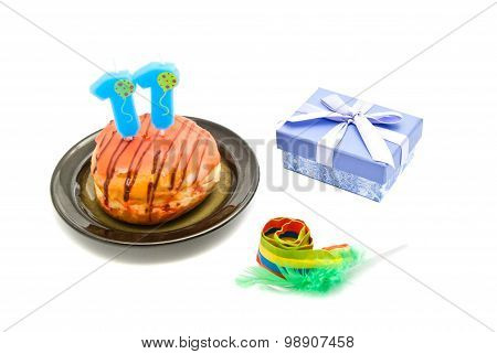 Donut With Eleven Years Birthday Candle, Whistle And Gift