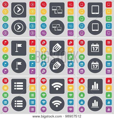 Arrow Right, Connection, Tablet Pc, Golf Hole, Pencil, Calendar, List, Wi-fi, Diagram Icon Symbol. A