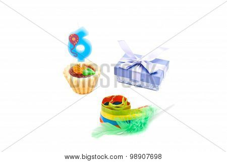 Cake With Six Years Birthday Candle, Whistle And Gift
