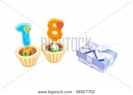 Cakes With Eighteen Years Birthday Candles And Gift