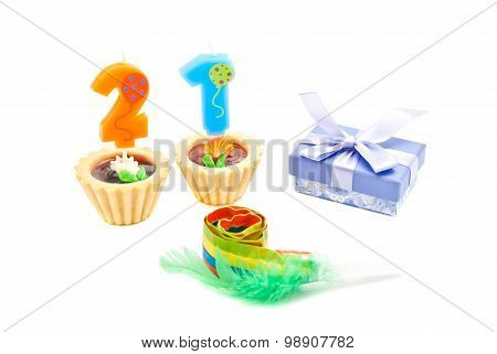 Cakes With Twenty One Years Birthday Candles, Whistle And Gift
