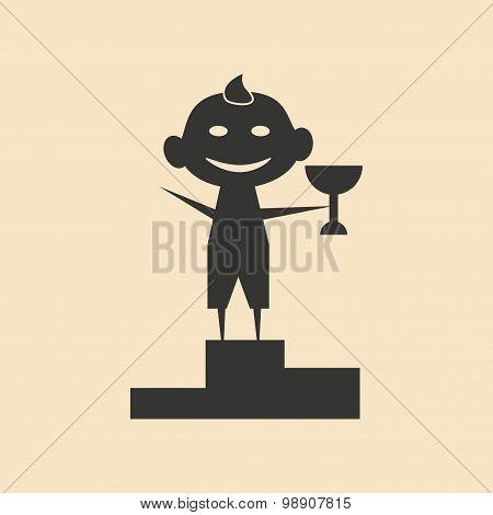 Flat in black and white mobile application child winner