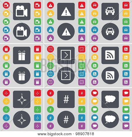 Film Camera, Warning, Car, Gift, Arrow Right, Rss, Compass, Hashtag, Chat Cloud Icon Symbol. A Large
