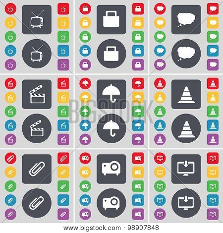 Retro Tv, Lock, Chat Cloud, Clapper, Umbrella, Cone, Clip, Projector, Monitor Icon Symbol. A Large S