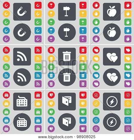 Magnet, Signpost, Apple, Rss, Trash Can, Heart, Keyboard, Wallet, Flash Icon Symbol. A Large Set Of