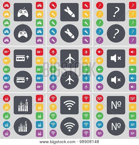 Gamepad, Rocket, Question Mark, Cassette, Airplane, Mute, Graph, Wi-fi, Number Icon Symbol. A Large