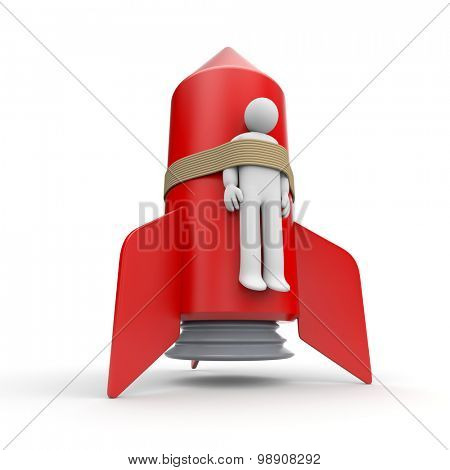 3d person strapped to a rocket