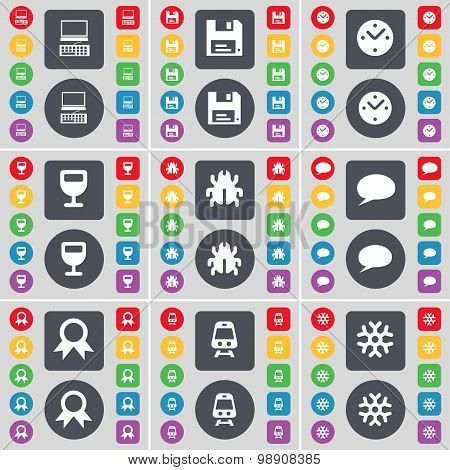 Laptop, Floppy, Clock, Wineglass, Bug, Chat Bubble, Medal, Train, Snowflake Icon Symbol. A Large Set