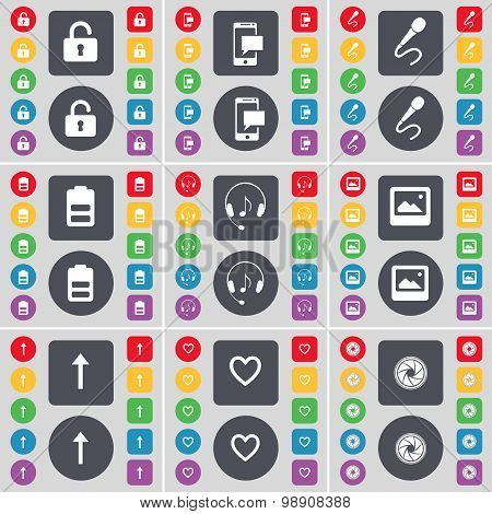 Lock, Sms, Microphone, Battery, Headphones, Window, Arrow Up, Heart, Lens Icon Symbol. A Large Set O
