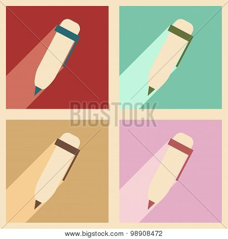 Flat with shadow concept and mobile application pen writing