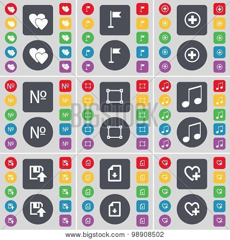 Heart, Golf Hole, Plus, Number, Frame, Note, Floppy, Download File, Heart Icon Symbol. A Large Set O